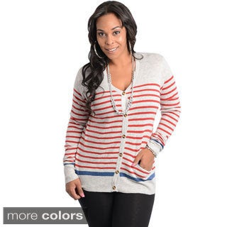 Stanzino Women's Plus Long Sleeve Striped Button Up Plus Size Sweater Top