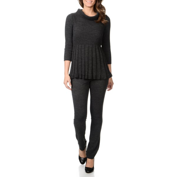 Lennie for Nina Leonard Women's 2pc Ribbed Knit Turtleneck Top