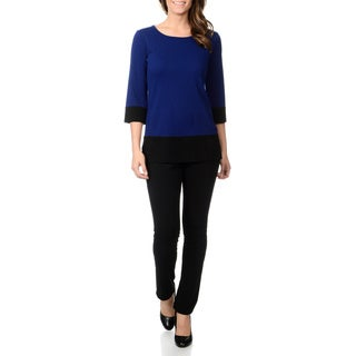 Lennie for Nina Leonard Women's 2pc Knit Colorblock Top