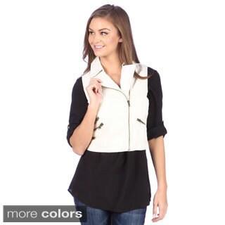 Tabeez Women's Wet Look Bomber Vest