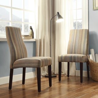 INSPIRE Q Marcey Mocha Tonal Stripe Wave Back Dining Chair (Set of 2)