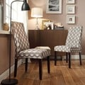 INSPIRE Q Marcey Mocha Wavy Stripe Wave Back Dining Chair (Set of 2)