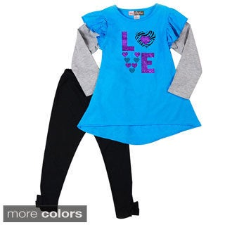 Girls 'Just Love' Two-piece Leggings and Top Set