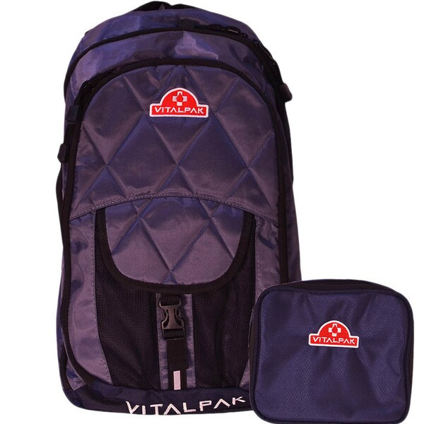 VitalPak Medical Backpack with Removable Snap-in Essentials Kit (Dark Grey/ Navy)