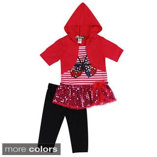Girls Toddler Stripes and Butterfly Two Piece Set