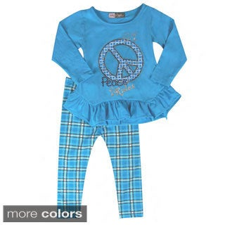 Girls Square Pattern Peace Two Piece Set