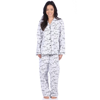Leisureland Women's Music Note Print Cotton Flannel Pajama Set