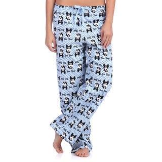 Leisureland Women's Bow Wow Dog Print Cotton Flannel Sleep Pants