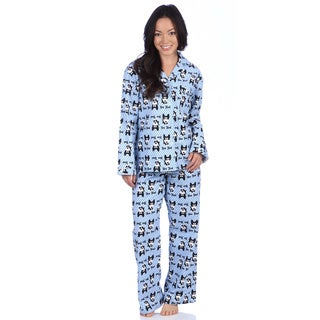 Leisureland Women's Cotton Flannel Sleep Bow Wow! Dog Design Pajama Set