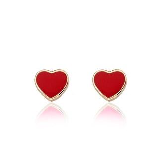 14K Gold Plated Little Miss Twin Stars Heart Earrings