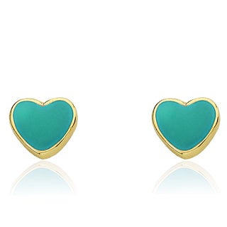 Little Miss Twin Stars 14k Gold Plated Turquoise Heart Earrings