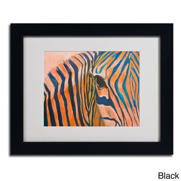 Judy Harris 'Orange Zebra' Framed Matted Art