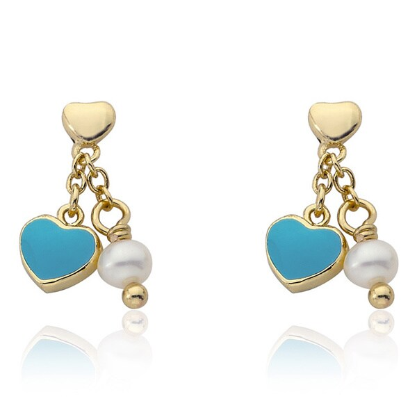 Little Miss Twin Stars 14K Gold Plated Light Blue Heart Dangle Earrings