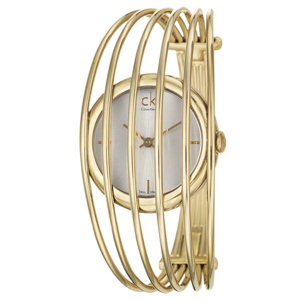 Calvin Klein Womens 'Fly' Yellow Gold-Plated Stainless Steel Swiss Quartz Watch