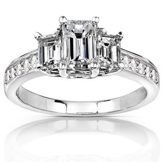 Annello 14k White Gold Certified 1 1/2ct TDW Emerald Cut Diamond Ring (G-H, VS2)