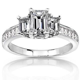 Annello 14k White Gold Certified 1 1/2ct TDW Emerald Cut Diamond Ring (G-H, VS2)