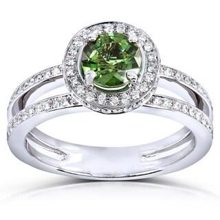 Annello 18k White Gold Green Tourmaline and 1/2ct TDW Diamond Halo Ring (G-H, VS1-VS2)
