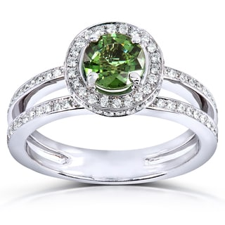 Annello 18k White Gold Green Tourmaline and 1/2ct TDW Diamond Halo Ring (G-H, VS1-VS2)