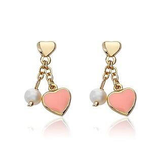 14K Gold Plated Little Miss Twin Pink Star Dangle Earrings