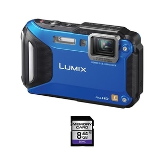 Panasonic Lumix DMC-TS5 Waterproof Blue Digital Camera 8GB Bundle