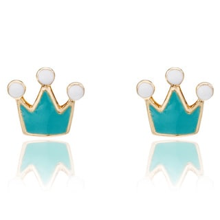 Little Miss Twin Stars 14K Gold Plated Turquoise Rocking Royalty Earrings