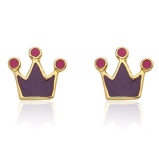 Little Miss Twin Stars 14K Gold Plated Purple Rocking Royalty Earrings