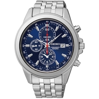 Seiko Men's Chronograph Blue Dial Red Accent Stainless Steel Watch