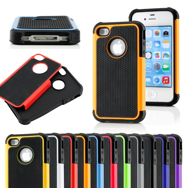 Gearonic 2 Piece Rugged Hard PC Silicone Caser for iPhone 4 4G 4S