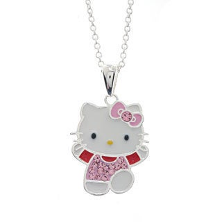 Hello Kitty Sterling Silver Plated Crystal Dancing Pendant