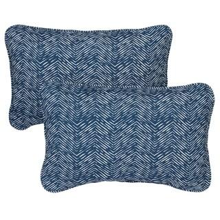 Navy Herringbone Corded 13 x 20 inch Indoor/ Outdoor Throw Pillows (Set of 2)