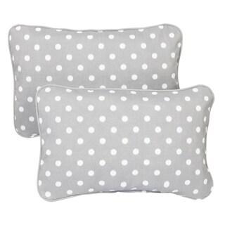 Grey Dots Corded 13 x 20 inch Indoor/ Outdoor Throw Pillows (Set of 2)