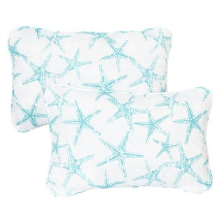 Aqua Starfish Corded 13 x 20 inch Indoor/ Outdoor Throw Pillows (Set of 2)