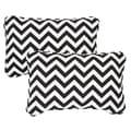 Black Chevron Corded 13 x 20 inch Indoor/ Outdoor Throw Pillows (Set of 2)