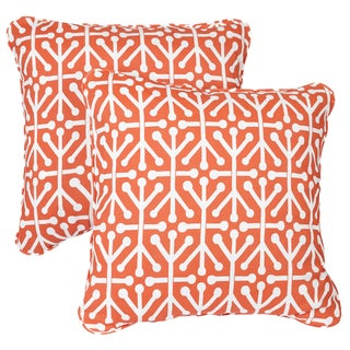 Dossett Orange Corded Indoor/ Outdoor Square Pillows (Set of 2)