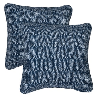 Navy Herringbone Corded Indoor/ Outdoor Square Pillows (Set of 2)