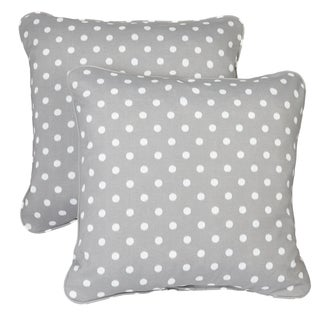 Grey Dots Corded Indoor/ Outdoor Square Pillows (Set of 2)