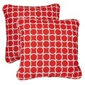 Linked Red Corded Indoor/ Outdoor Square Pillows (Set of 2)