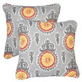 Vintage Citrus Corded Indoor/ Outdoor Square Pillows (Set of 2)