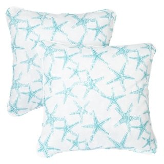 Aqua Starfish Corded Indoor/ Outdoor Square Pillows (Set of 2)