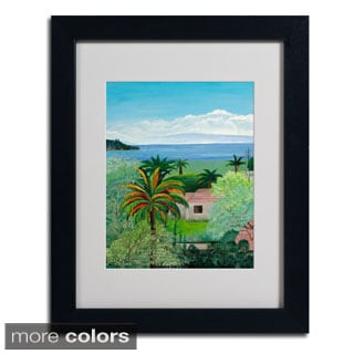 Unknown 'Costa Rican Beach' Framed Matted Art