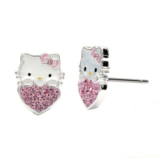 Hello Kitty Sterling Silver Plated Crystal Heart Stud Earrings