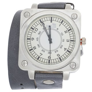 Van Sicklen Men's Grey Leather Double Strap Watch