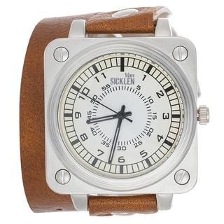 Van Sicklen Men's Light Brown Leather Double Strap Watch