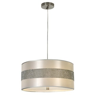 'Harmony' Metallic Silver Crystal Beaded 3-light Pendant