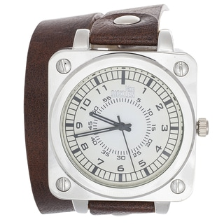 Van Sicklen Men's Brown Leather Double Strap Watch