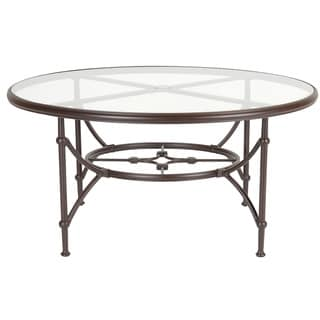Origin 48-Inch Round Espresso Tempered Glass-Top Table