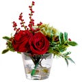 Holiday Rose Hydrangea Glass Vase 14-Inch Red
