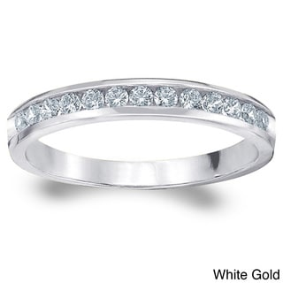 Amore 14k Gold 1/4ct TDW Machine-set Diamond Wedding Band (H-I, I1-I2)