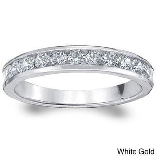 14k Gold 1/2ct TDW Machine-set Diamond Wedding Band (H-I, I1-I2)
