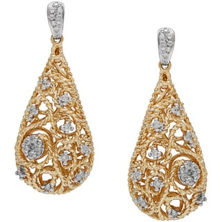 Diamonds For A Cure 14k Yellow Gold 1/3ct TDW Teardrop Swirl Carved Earrings (H-I, SI1-SI2)